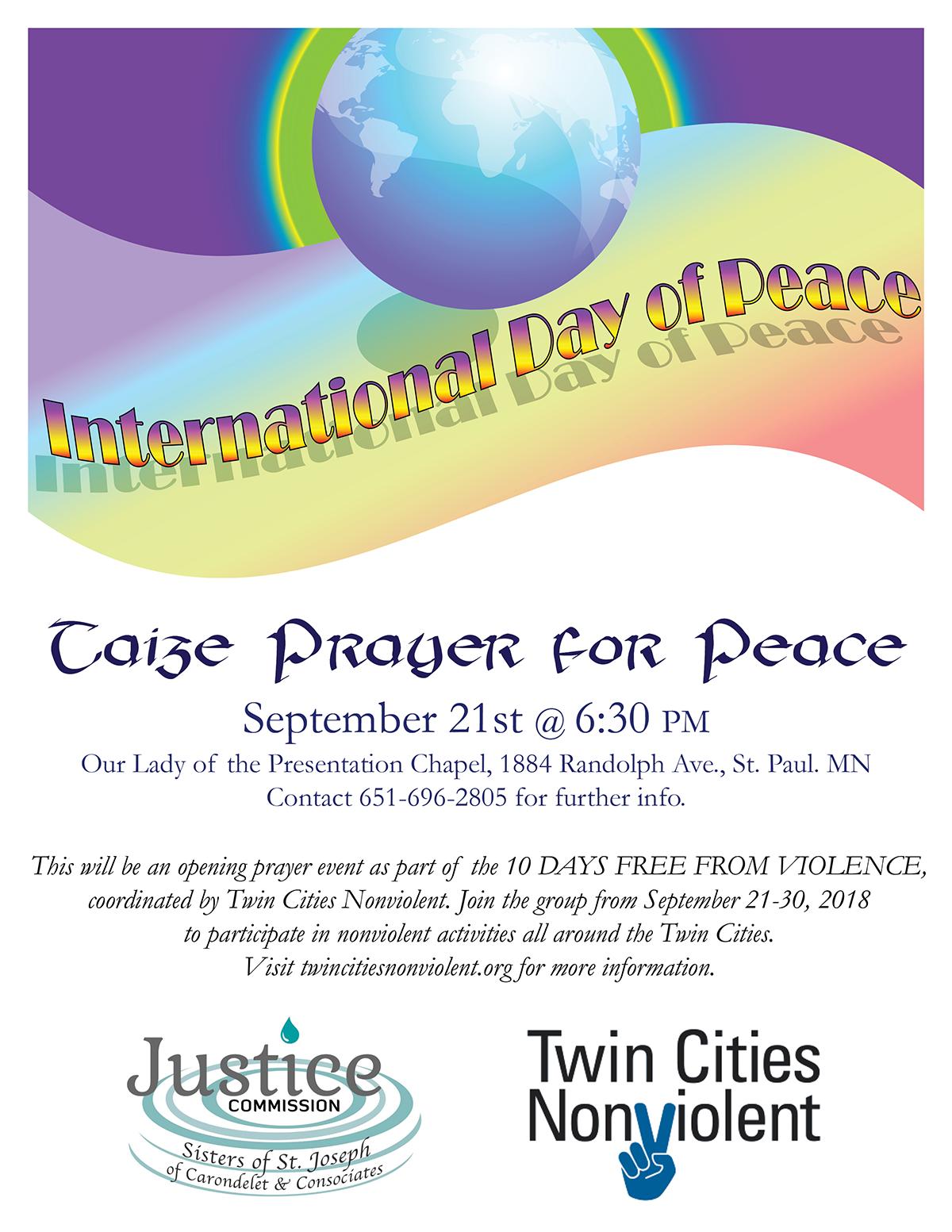 International Day of Peace: Taizé prayer – CSJ St  Paul